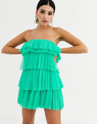 Lace & Beads tiered ruffle mini dress in green