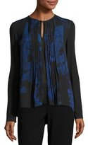 Elie Tahari Northstar Holly Long-Sleeve Printed Silk Blouse, Bluette