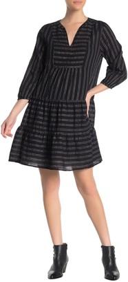 Velvet by Graham & Spencer Metallic Stripe Split Neck Dress