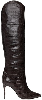 Schutz Julyanne Over-The-Knee Croc-Embossed Leather Boots