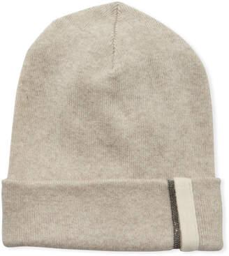 Brunello Cucinelli Girl's Cashmere Beanie Hat with Monili, Size 10