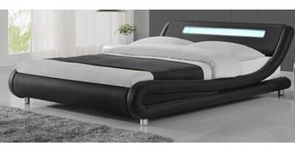 Orren Ellis Lorimer Upholstered Sleigh Bed Size: Full, Color: Black
