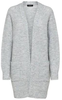 Selected Long Knit Cardigan Light Grey - XS