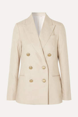 Brunello Cucinelli Double-breasted Linen And Cotton-blend Blazer - Beige