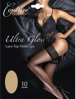 """Couture Ultra Gloss Luxury 10 Denier Lace Top Hold Ups (Medium (36""""-42"""" Hip)"""
