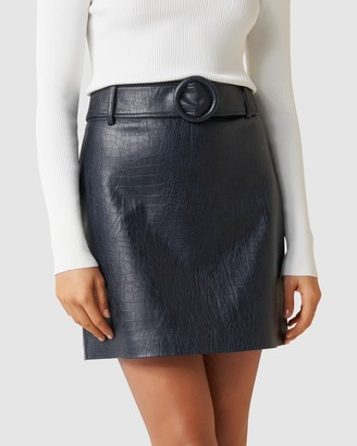 Forever New Hallie Embossed PU Mini Skirt