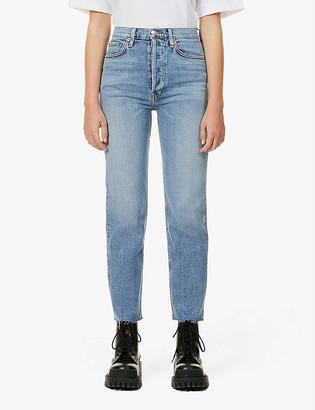 RE/DONE Stove Pipe straight-leg high-rise stretch-denim jeans