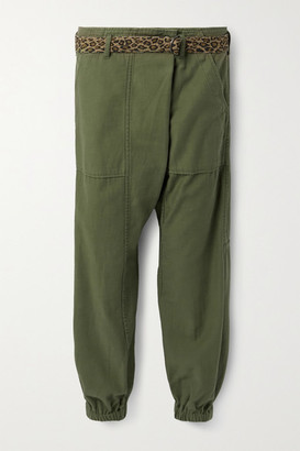 R 13 Belted Cotton Tapered Pants - Army green