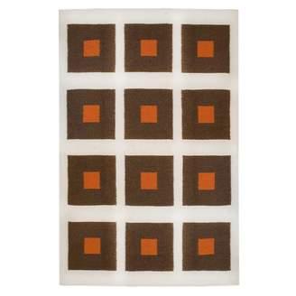 Jonathan Adler Brown/Orange Peter Reversible Peruvian Flat Weave Rug