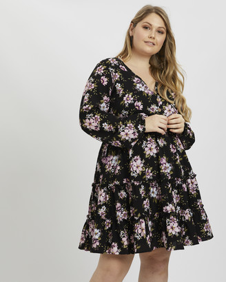 You & All - Women's Black Long Sleeve Dresses - Plus Floral Ruffle Dress - Size One Size, 18 at The Iconic
