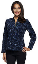 As Is Susan Graver Corduroy Printed Zip Front Jacket with Pockets