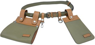 L2r The Label Double Belt Bag In Rescued Green & Tan Leather