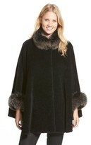 Blue Duck Women's Genuine Fox Fur Trim Wool Blend Cape