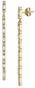 Sydney Evan Dangling Baguette Diamond Line Earrings