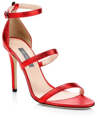Sarah Jessica Parker Halo Ankle-Strap Metallic Leather Sandals
