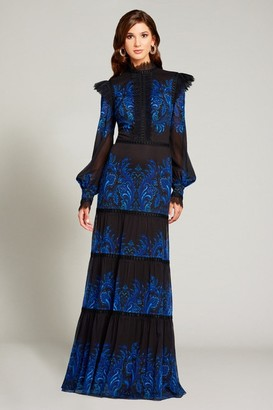Tadashi Shoji Long Sleeve High Neck Gown