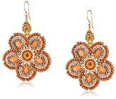 Miguel Ases Pink Coral Flower Drop Earrings