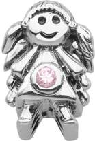 Persona Sterling Silver Pink Austrian crystals October Girl Charm Bead Fits European Bracelets