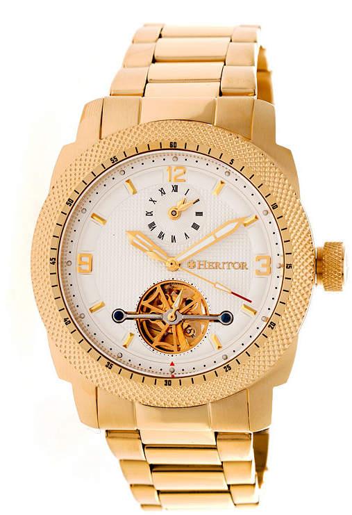 Heritor Helmsley Mens Gold Tone Bracelet Watch-Herhr5003
