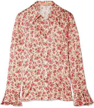 Michael Kors Floral-print Silk-jacquard Blouse