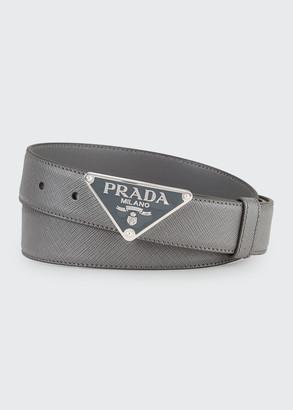 Prada Men's Triangle Logo Leather Belt