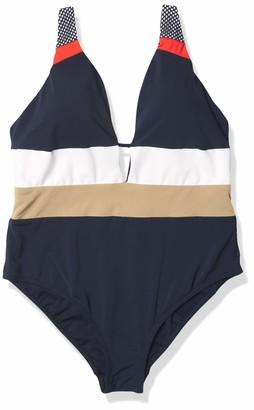 Jets Women's Colorblock Deep V One Piece Swimsuit