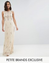 Maya Petite All Over Embellished Lace Maxi Dress