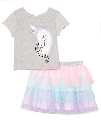 Freestyle Revolution Girls' Casual Skirts MULTI - Lavender Unicorn Tee & Pink & Blue Color Block Tutu - Toddler & Girls