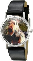 Whimsical Watches Kids' R0130079 Classic Airedale Terrier Black Leather And Silvertone Photo Watch