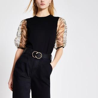 River Island Womens Black animal printed organza sleeve T-shirt