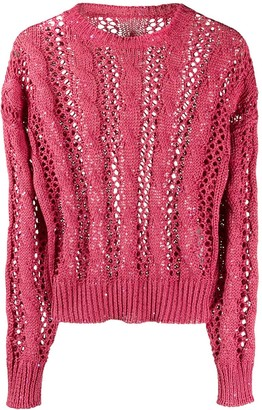 Brunello Cucinelli Sequin-Embellished Open-Knit Jumper