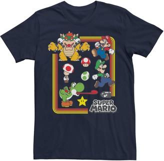 Nintendo Licensed Character Men's Super Mario Rainbow Group Shot Short Sleeve Tee