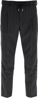 Dolce & Gabbana PINSTRIPED WOOL JOGGING TROUSERS 46 Black, Grey Wool