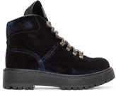 Prada Navy Velvet Hiking Boots