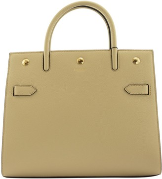 Burberry Small Leather Two-handle Title Bag Light Beige