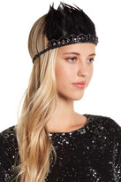 Natasha Accessories Beaded Chain & Feather Headwrap