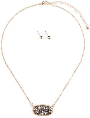 Riah Fashion Druzy-Stone Pendant-Necklace And-Stud-Earring-Set