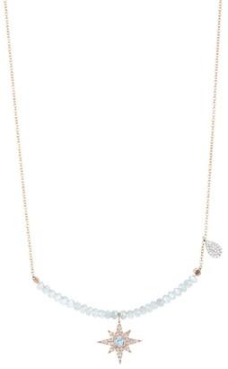 Meira T 14K Rose Gold, 14K White Gold, Diamond, Blue Topaz & Silverite Pendant Necklace