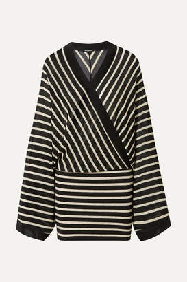 Balmain Wrap-effect Metallic Striped Stretch-jersey Mini Dress - Black