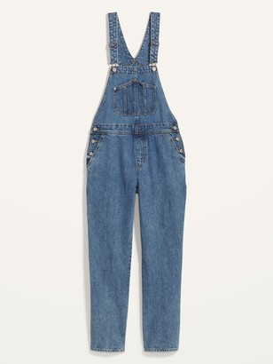 Old Navy Slouchy Straight Medium-Wash Workwear Jean Overalls for Women