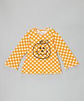 Flap Happy Mango Punch Polka Dot Pumpkin Tee - Toddler & Girls