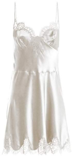 Carine Gilson Lace Trimmed Silk Satin Cami Dress - Womens - White