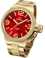 TW Steel Canteen Unisex Automatic Watch with Red Dial Analogue Display and Silver Rose Gold Bracelet CB116