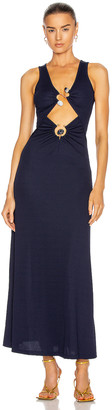 CHRISTOPHER ESBER Orbit Ruched Multi Buckle Tank Dress in Navy & Ice Stone | FWRD