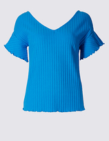 Limited Edition Cotton Rich Ribbed Frill Sleeve T-Shirt