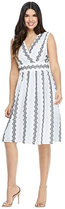 Maggy London Eyelet Fit-and-Flare (White/Navy/Blue) Women's Dress