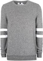 Topman Dark Grey And White Twist Sleeve Stripe Jumper