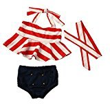AMA(TM) 3PCS Toddler Kids Baby Girls Striped Top Briefs Headband Bikini Set Summer Swimsuit Swimwear Bathing Suit Beachwear (6M, Red)