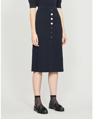 Claudie Pierlot Ribbed stretch-jersey midi skirt