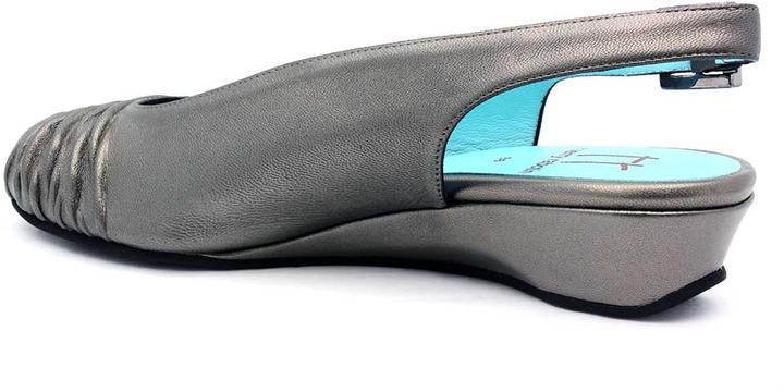 "Thierry Rabotin 9616G"" Pewter Metallic Slingback Peep Toe Wedge"